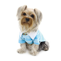 Aqua Blue Textured Polo Shirt