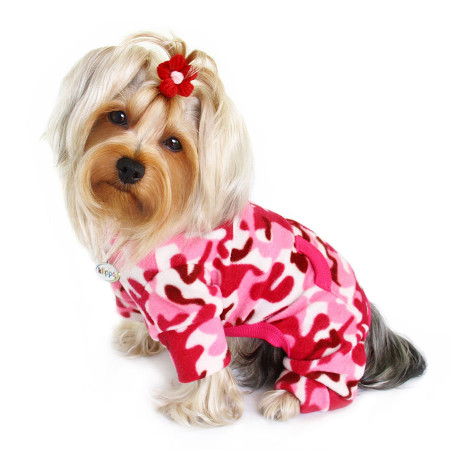 Pink Camouflage Fleece Turtleneck Dog Pajamas