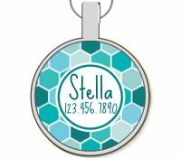 Blue Geometric Silver Pet ID Tags