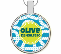 Blue Nautical Silver Pet ID Tags