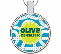 Blue Nautical Silver Pet ID Tags