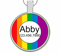Colors of the Rainbow Silver Pet ID Tags