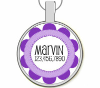 Craft Flower Silver Pet ID Tags
