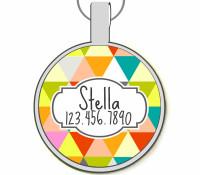 Geometric Triangles Silver Pet ID Tags