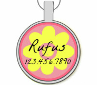 Girly Flower Silver Pet ID Tags