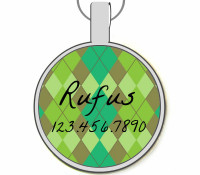 Green Argyle Silver Pet ID Tags