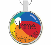 Beach Ball Summer Silver Pet ID Tags