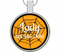 Halloween Spiderweb Silver Pet ID Tags