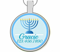 Hanukkah Menorah Silver Pet ID Tags