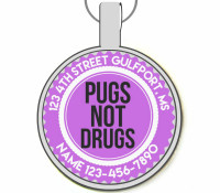 Pugs Not Drugs Silver Pet ID Tags