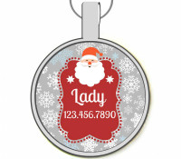 Santa Silver Pet ID Tags
