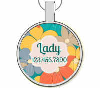 Summer Floral Silver Pet ID Tags