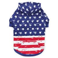 Distressed Look American Flag Hoodie