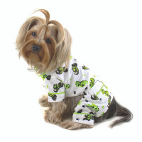 Playful Dinosaur Flannel Dog Pajamas