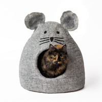 Grey Mouse Felted Cat Cave