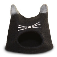 Black Cat Face Felted Cat Cave