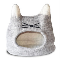 Natural Cat Face Felted Cat Cave