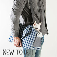 Louisdog Indigo Gingham Tote Bag