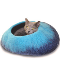 Navy Ombre Felted Cat Cave