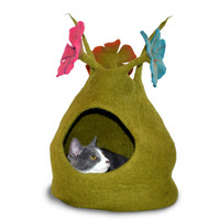 Green Bouquet Felted Cat Cave