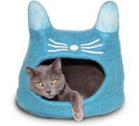 Turquoise Cat Face Felted Cat Cave