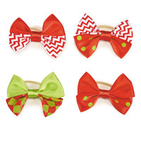 Red and Green Chevron & Dot Dog Bows