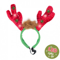 Zippy Paws Holiday LED Reindeer Antlers Headband