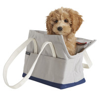 Canvas Pet Tote - Grey & Navy