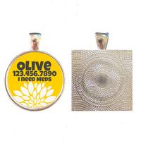 Chrysanthemum Floral Silver Pet ID Tag