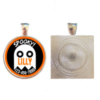 Halloween Ghost Silver Pet ID Tag