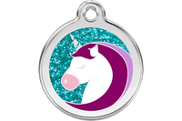 Unicorn Stainless Steel Glitter Enamel ID Tag