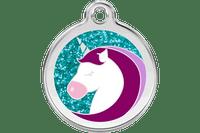 Unicorn Stainless Steel Glitter Enamel ID Tag