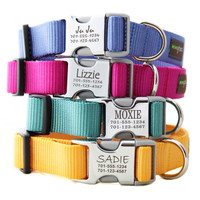 Engraved Buckle Nylon Webbing Personalized Dog Collars