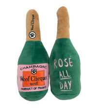 Woof Clicquot Rose' Champagne Bottle Toy