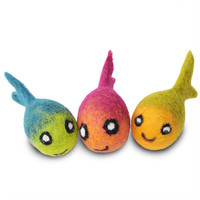 Assorted Felted Fish Toys - 3 Pack