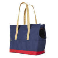 Canvas Pet Tote - Navy & Red