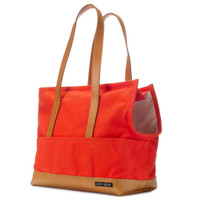 Leather & Canvas Pet Tote - Orange & Cognac