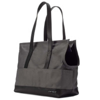 Leather & Canvas Pet Tote - Dark Grey & Black