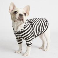 Lightweight Bamboo Knit Hoodie - Black & White Stripe