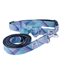 Aqua Plaid Dog Collar & Leash Set