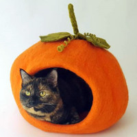 Pumpkin Felted Cat Cave