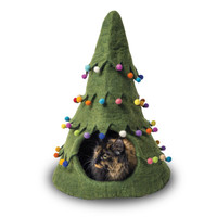 Xmas Tree Green Felted Cat Cave