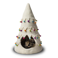 Xmas Tree White Felted Cat Cave