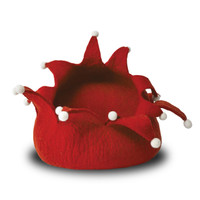 Holiday Red Wool Pet Basket