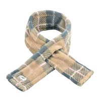 Tan Plaid Fleece Dog Scarf