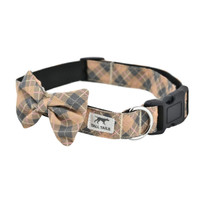 Tan Plaid Fashion Dog Collar
