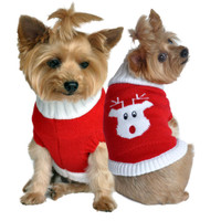 Combed Cotton Red Rudolph Holiday Dog Sweater