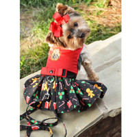 Holiday Dog Harness Dress - Gingerbread
