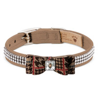 Susan Lanci Chocolate Glen Houndstooth Big Bow 3 Row Giltmore Collar