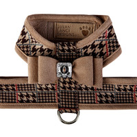Susan Lanci Chocolate Glen Houndstooth Big Bow Tinkie Harness with Trim